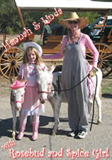 Hannah and Linda with Rosebud and her miniature Donkey foal Spice Girl